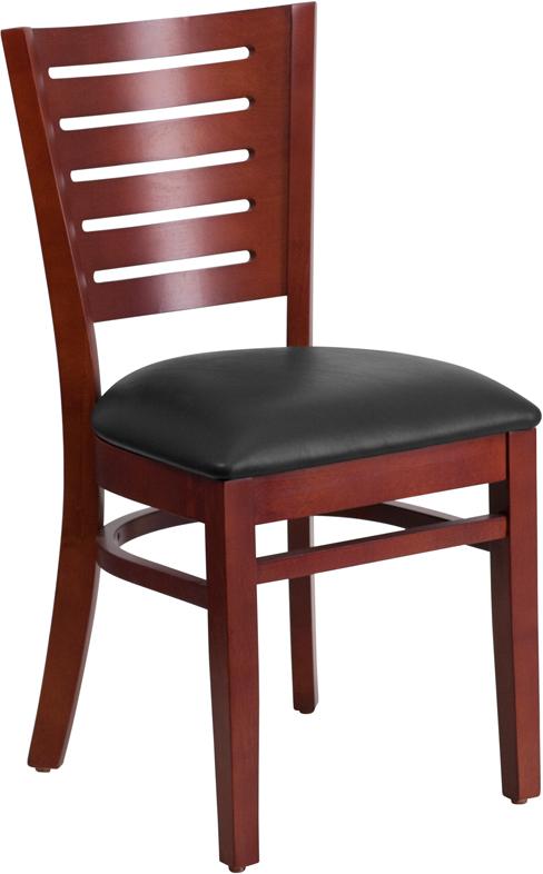 Wholesale Darby Series Slat Back Mahogany Wood Restaurant Chair - Black Vinyl Seat