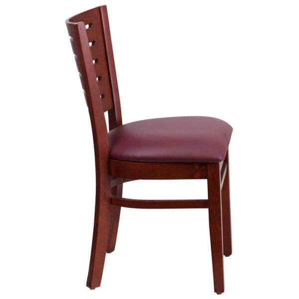 Lowest Price Darby Series Slat Back Mahogany Wood Restaurant Chair - Burgundy Vinyl Seat