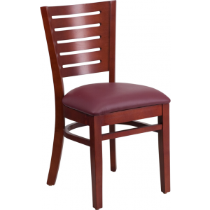 Wholesale Darby Series Slat Back Mahogany Wood Restaurant Chair - Burgundy Vinyl Seat
