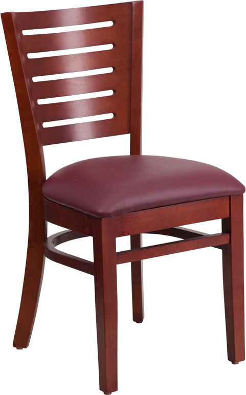 Wholesale Darby Series Slat Back Mahogany Wood Restaurant Chair - Burgundy Vinyl Seat