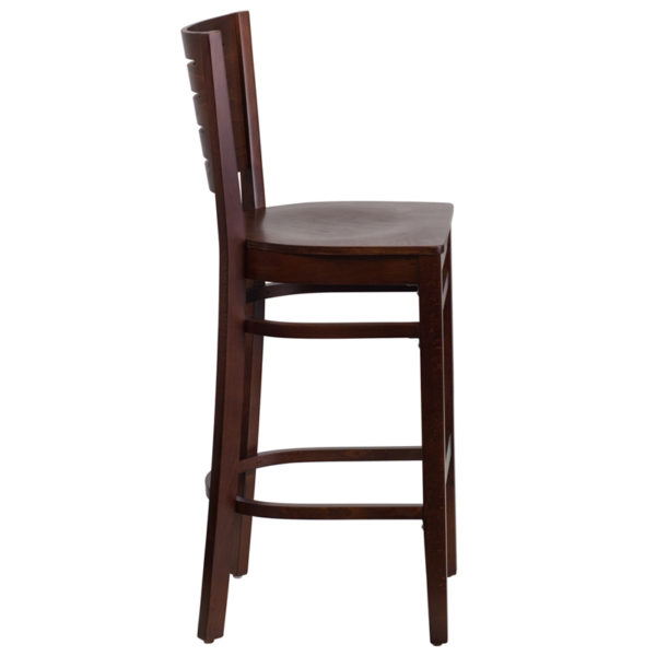 Lowest Price Darby Series Slat Back Walnut Wood Restaurant Barstool