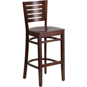Wholesale Darby Series Slat Back Walnut Wood Restaurant Barstool