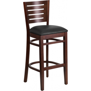 Wholesale Darby Series Slat Back Walnut Wood Restaurant Barstool - Black Vinyl Seat