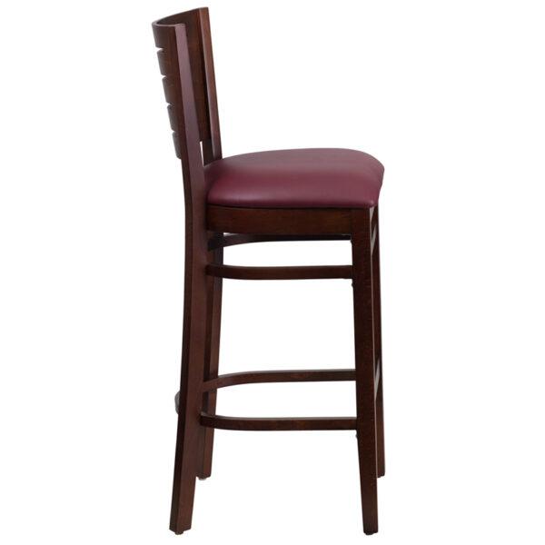Lowest Price Darby Series Slat Back Walnut Wood Restaurant Barstool - Burgundy Vinyl Seat
