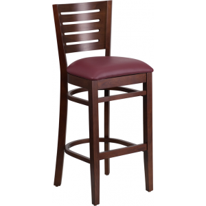 Wholesale Darby Series Slat Back Walnut Wood Restaurant Barstool - Burgundy Vinyl Seat