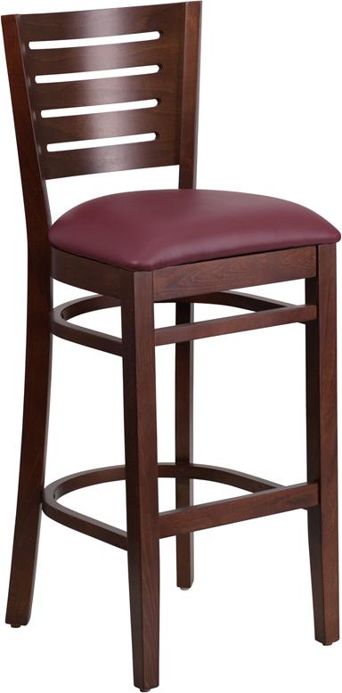 Wholesale Darby Series Slat Back Walnut Wood Restaurant Barstool - Burgundy Vinyl Seat