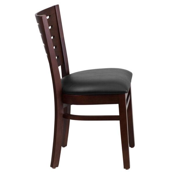 Lowest Price Darby Series Slat Back Walnut Wood Restaurant Chair - Black Vinyl Seat