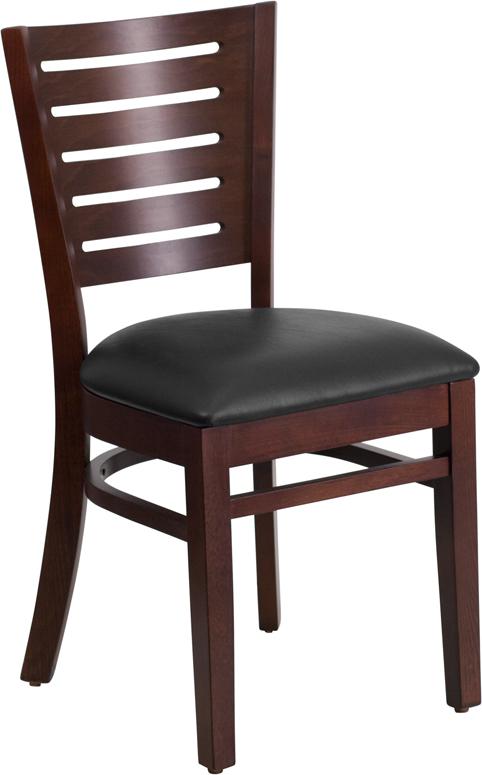 Wholesale Darby Series Slat Back Walnut Wood Restaurant Chair - Black Vinyl Seat
