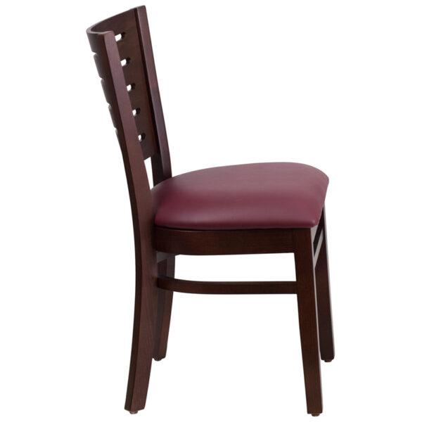 Lowest Price Darby Series Slat Back Walnut Wood Restaurant Chair - Burgundy Vinyl Seat