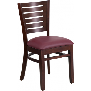 Wholesale Darby Series Slat Back Walnut Wood Restaurant Chair - Burgundy Vinyl Seat