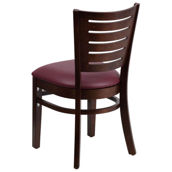 Wood Dining Chair Walnut Wood Chair-Burg Vinyl