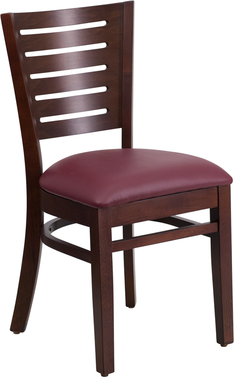 Wholesale Darby Series Slat Back Walnut Wood Restaurant Chair - Burgundy Vinyl Seat