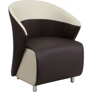 Wholesale Dark Brown Leather Curved Barrel Back Lounge Chair with Beige Detailing