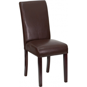Wholesale Dark Brown Leather Parsons Chair