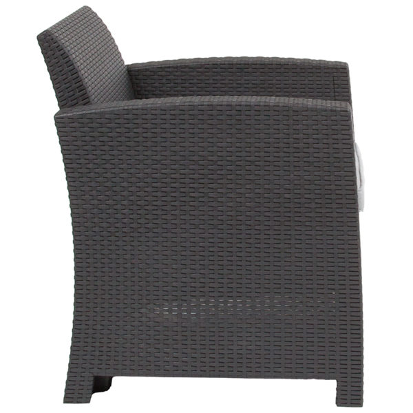 Lowest Price Dark Gray Faux Rattan Chair with All-Weather Light Gray Cushion
