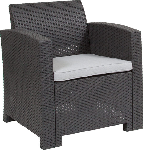 Wholesale Dark Gray Faux Rattan Chair with All-Weather Light Gray Cushion