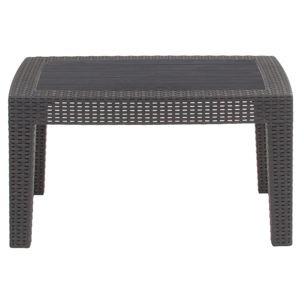 Lowest Price Dark Gray Faux Rattan Coffee Table