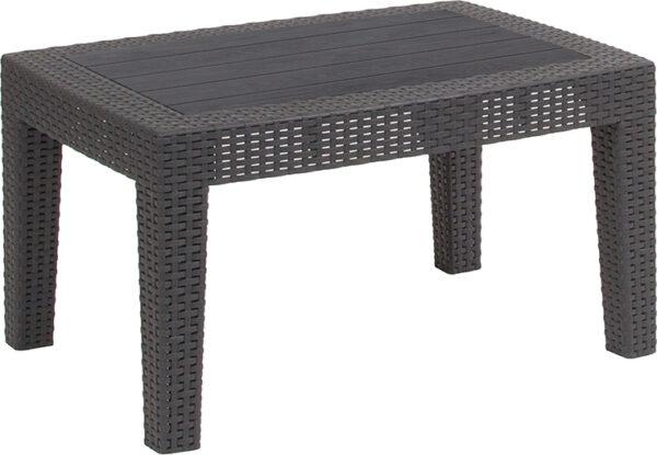 Wholesale Dark Gray Faux Rattan Coffee Table