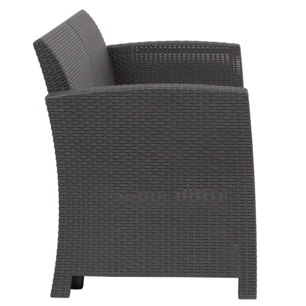 Lowest Price Dark Gray Faux Rattan Loveseat with All-Weather Light Gray Cushions