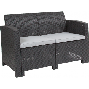 Wholesale Dark Gray Faux Rattan Loveseat with All-Weather Light Gray Cushions