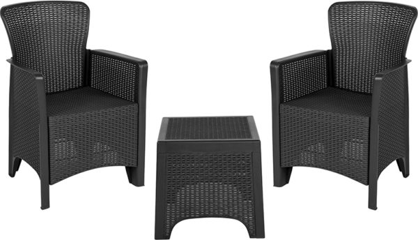 Lowest Price Dark Gray Faux Rattan Plastic Chair Set with Matching Side Table