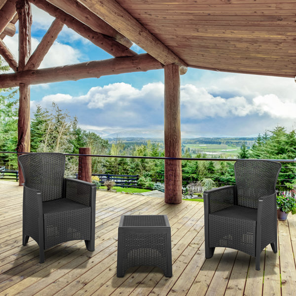 Wholesale Dark Gray Faux Rattan Plastic Chair Set with Matching Side Table