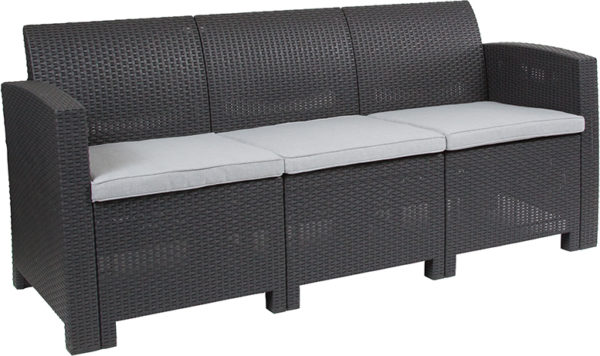 Wholesale Dark Gray Faux Rattan Sofa with All-Weather Light Gray Cushions