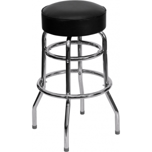 Wholesale Double Ring Chrome Barstool with Black Seat