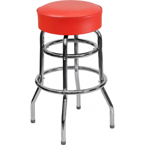 Wholesale Double Ring Chrome Barstool with Red Seat