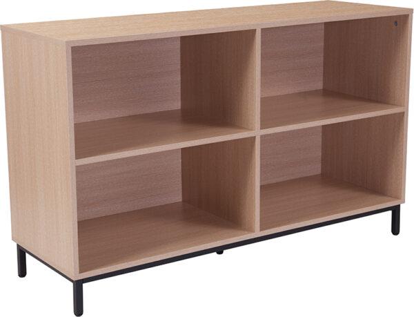 "Wholesale Dudley 4 Shelf 29.5""H Open Bookcase Storage in Oak Wood Grain Finish"