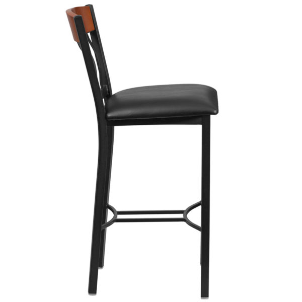 Lowest Price Eclipse Series Vertical Back Black Metal and Cherry Wood Restaurant Barstool with Black Vinyl Seat