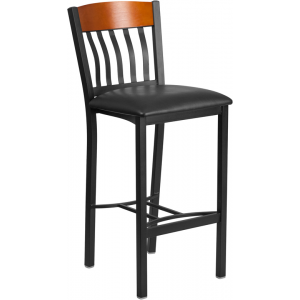 Wholesale Eclipse Series Vertical Back Black Metal and Cherry Wood Restaurant Barstool with Black Vinyl Seat