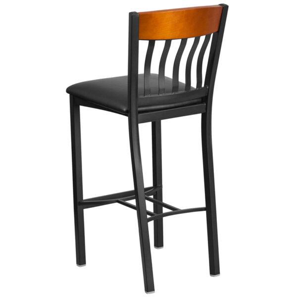 Metal Dining Bar Stool Bk/Chy Vert Stool-Black Seat