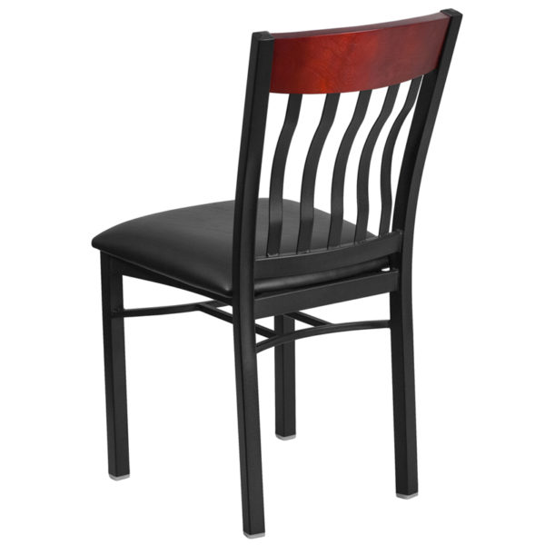 Metal Dining Chair Bk/Mah Vert Chair-Black Seat