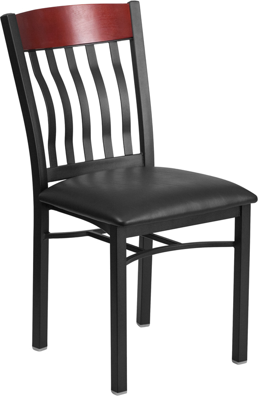 Wholesale Eclipse Series Vertical Back Black Metal and Mahogany Wood Restaurant Chair with Black Vinyl Seat