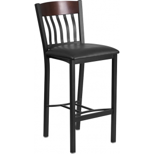 Wholesale Eclipse Series Vertical Back Black Metal and Walnut Wood Restaurant Barstool with Black Vinyl Seat