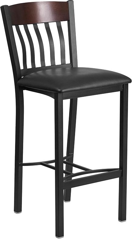Wholesale Eclipse Series Vertical Back Black Metal and Walnut Wood Restaurant Barstool with Black Vinyl Seat