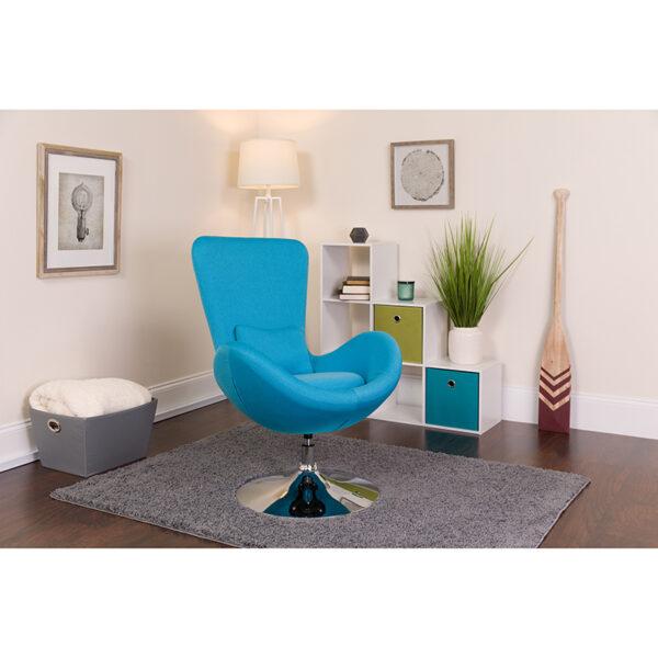 Lowest Price Egg Series Aqua Fabric Side Reception Chair