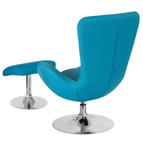 Lowest Price Egg Series Aqua Fabric Side Reception Chair with Ottoman