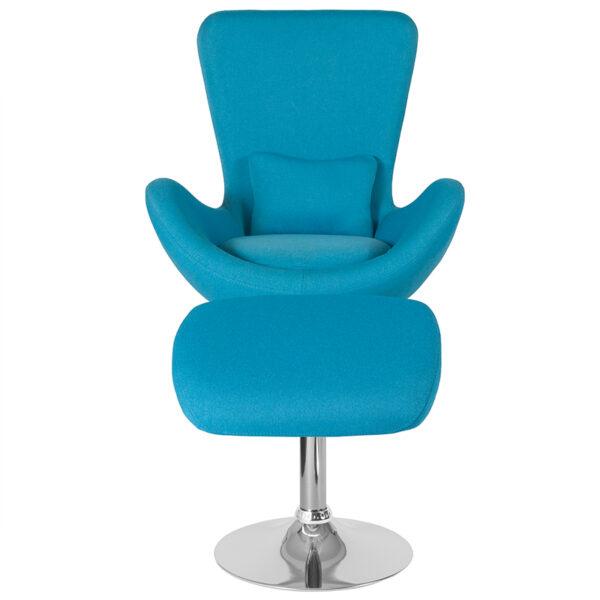 Chair and Ottoman Set Aqua Fabric Reception Chair