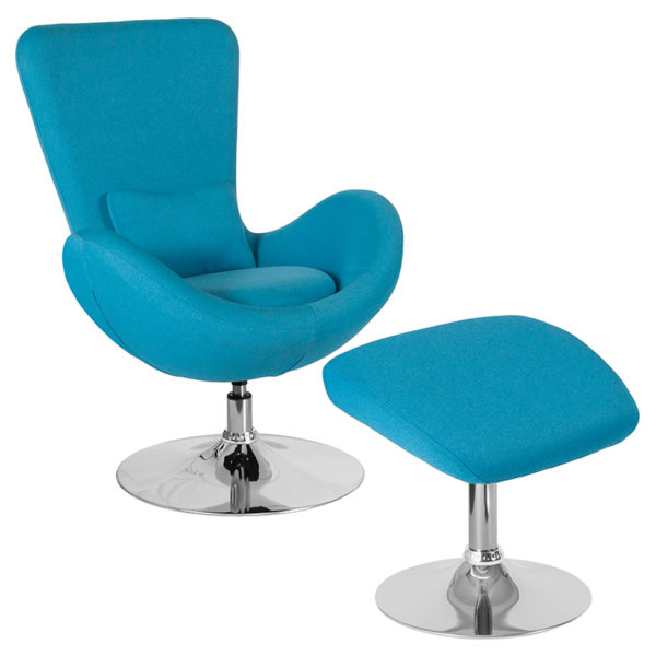 Wholesale Egg Series Aqua Fabric Side Reception Chair with Ottoman