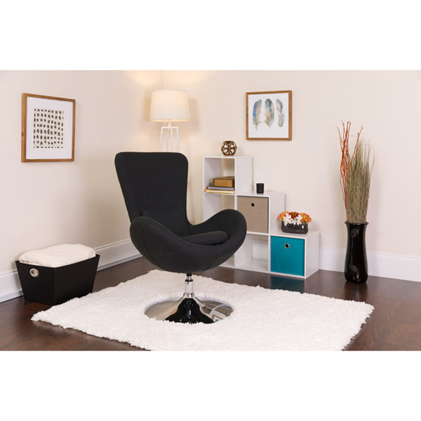 Lowest Price Egg Series Black Fabric Side Reception Chair