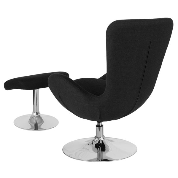 Lowest Price Egg Series Black Fabric Side Reception Chair with Ottoman