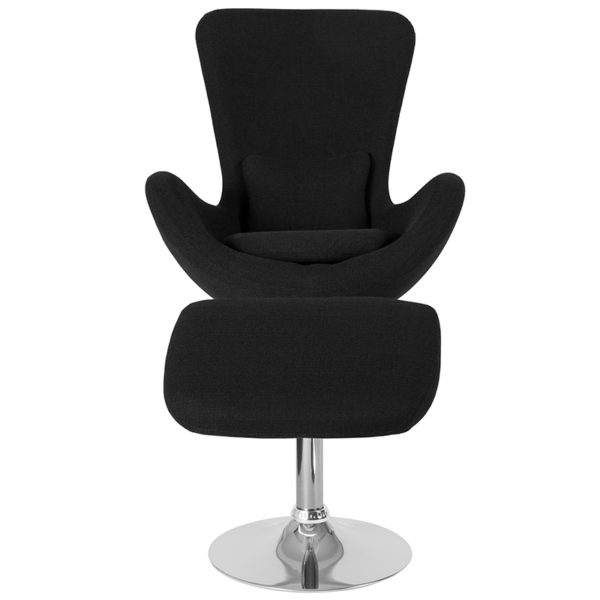 Chair and Ottoman Set Black Fabric Reception Chair