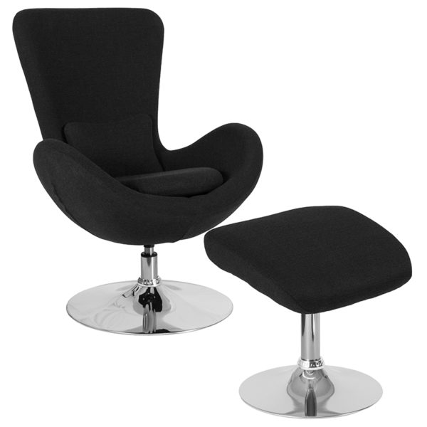 Wholesale Egg Series Black Fabric Side Reception Chair with Ottoman
