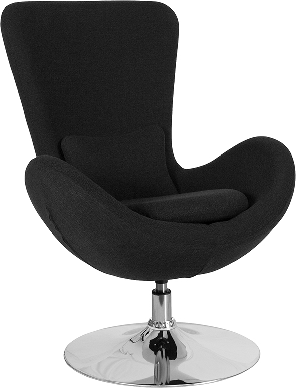 Wholesale Egg Series Black Fabric Side Reception Chair