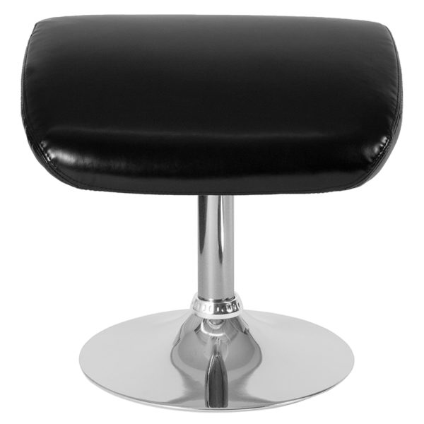 Contemporary Style Black Leather Ottoman