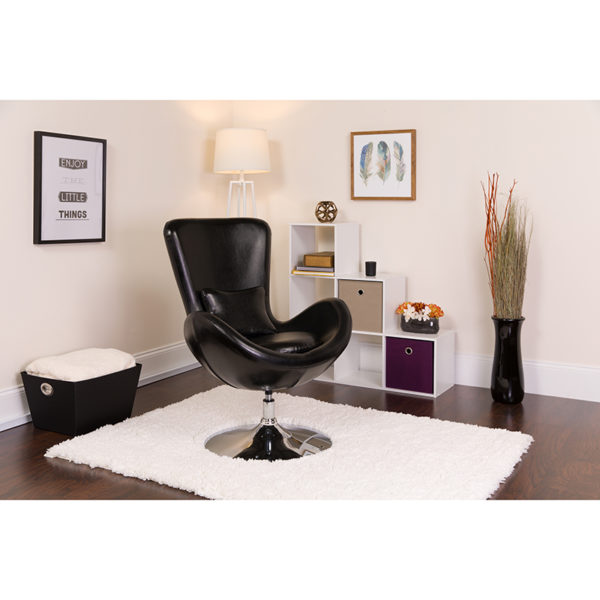 Lowest Price Egg Series Black Leather Side Reception Chair