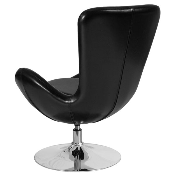 Lounge Chair Black Leather Egg Series Chair