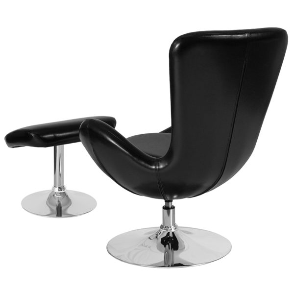 Lowest Price Egg Series Black Leather Side Reception Chair with Ottoman